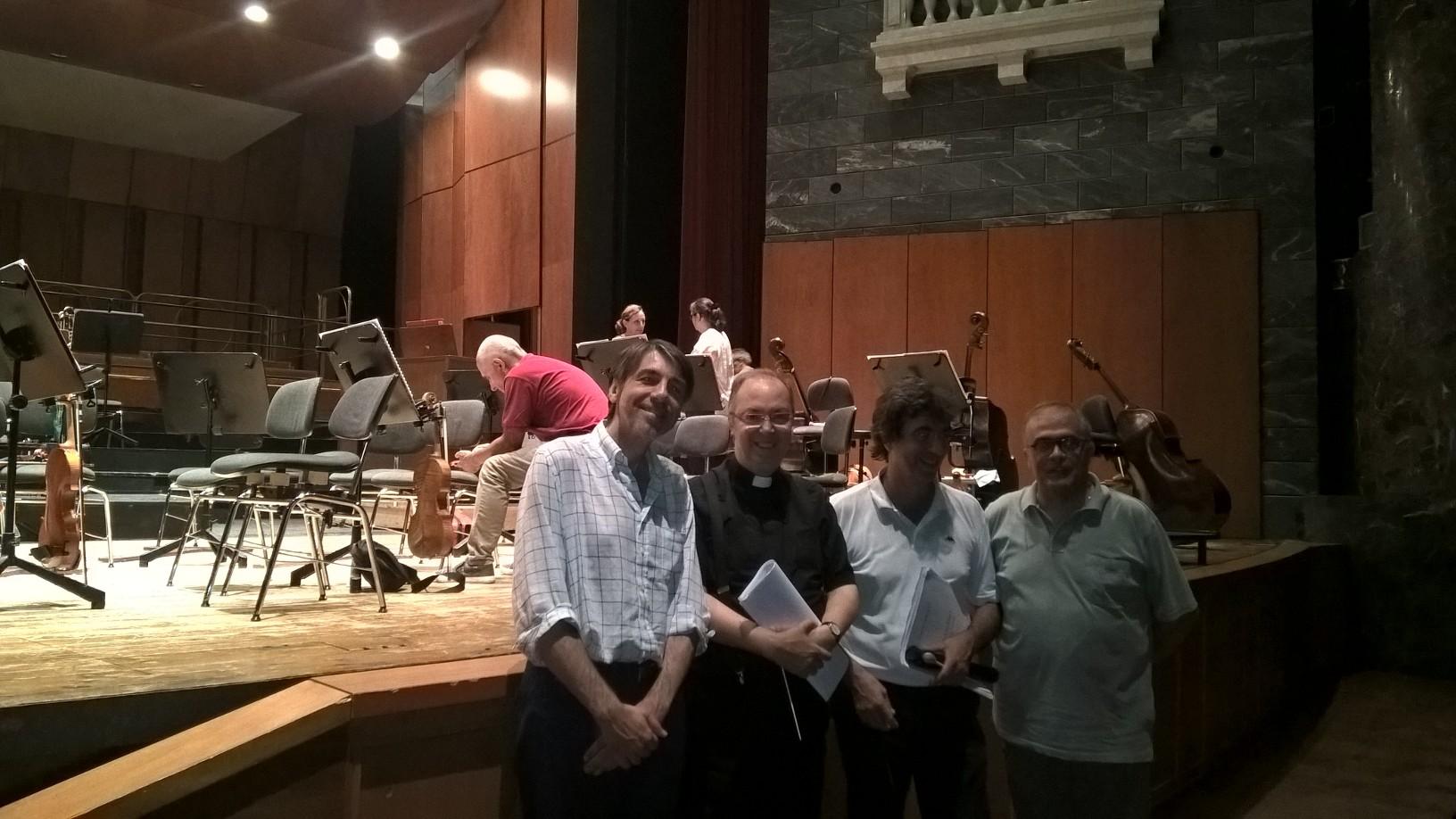 Da sinistra Gianfranco Giolfo, Mons. Marco Frisina, Giovanni Porcile, Fabrizio Fancello